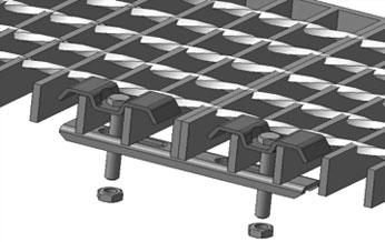 Крепление решетчатых настилов с помощью двойного прижима